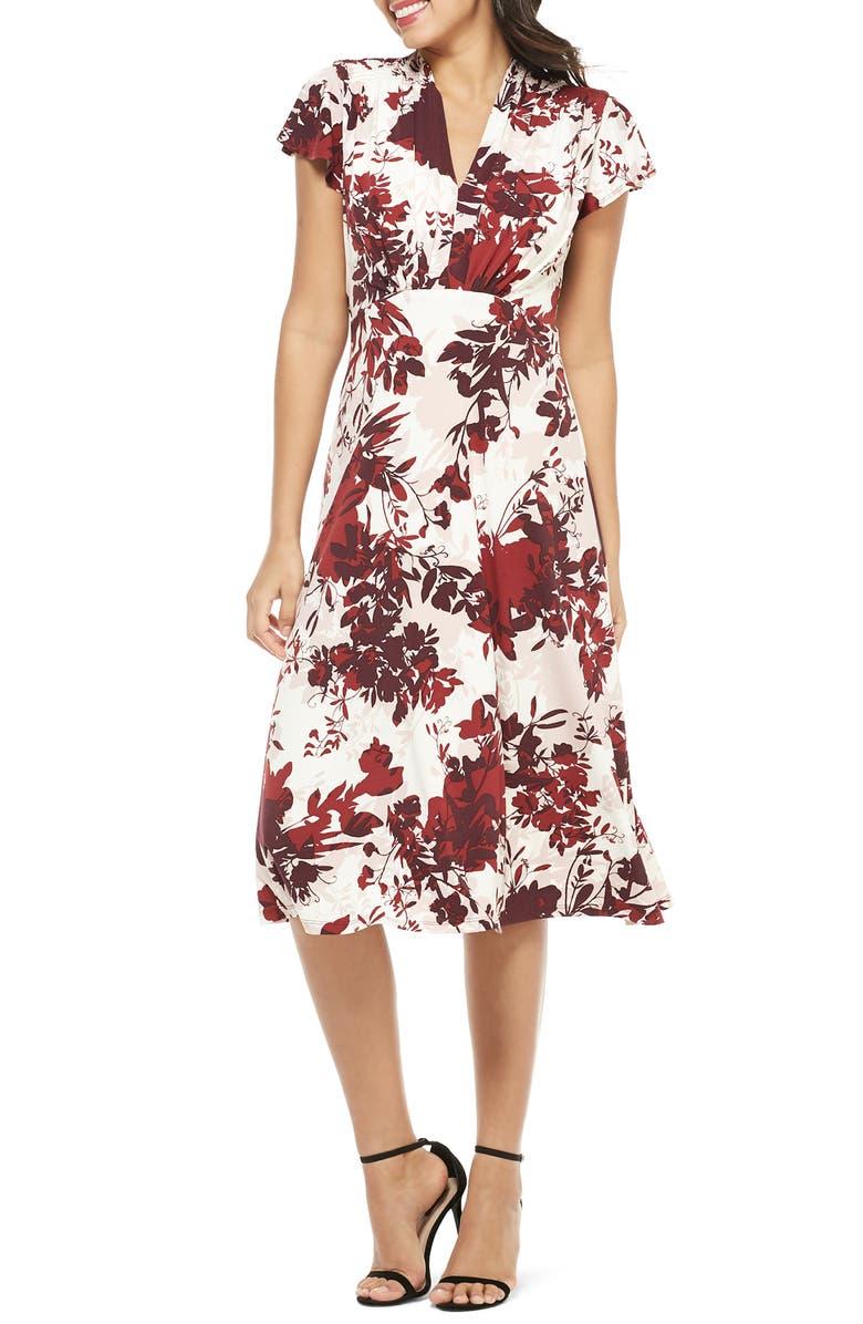 MAGGY LONDON Floral Print Flutter Sleeve Midi Dress, Main, color, 930