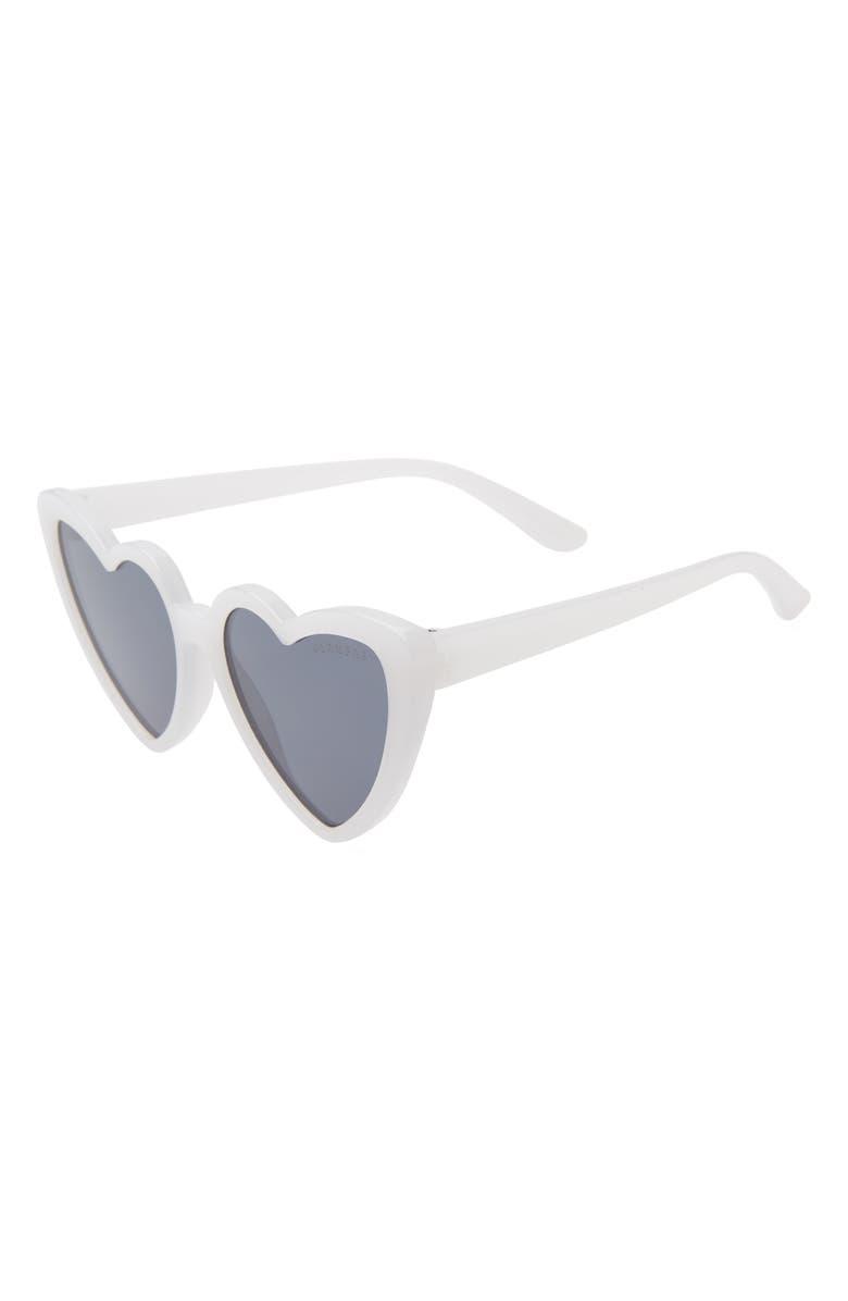 GLAMBABY Priscilla 50mm Heart Sunglasses, Main, color, WHITE