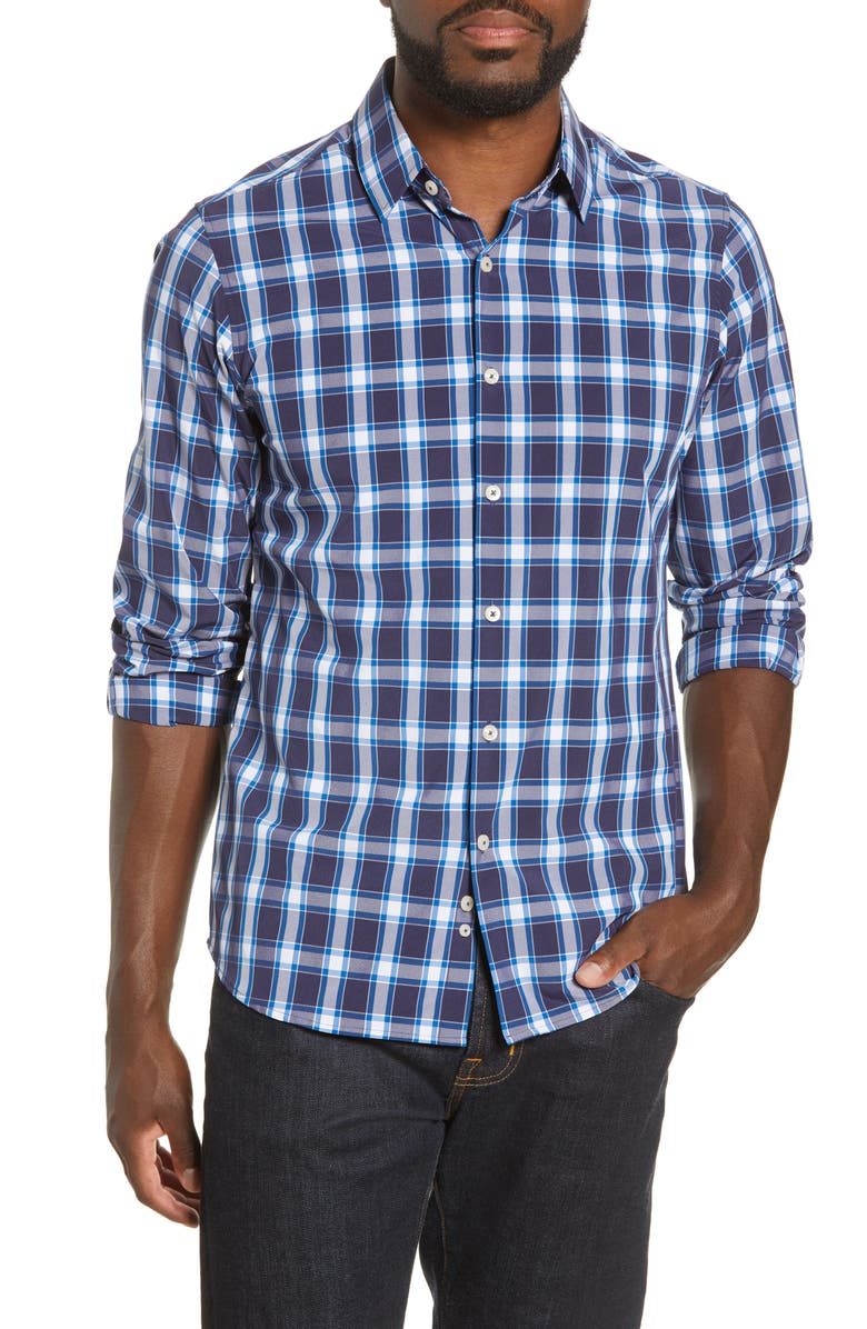 MOVE PERFORMANCE APPAREL Regular Fit Check Button-Up Shirt, Main, color, NAVY