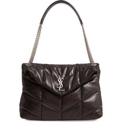 Saint Laurent Medium Lou Leather Puffer Bag - Black