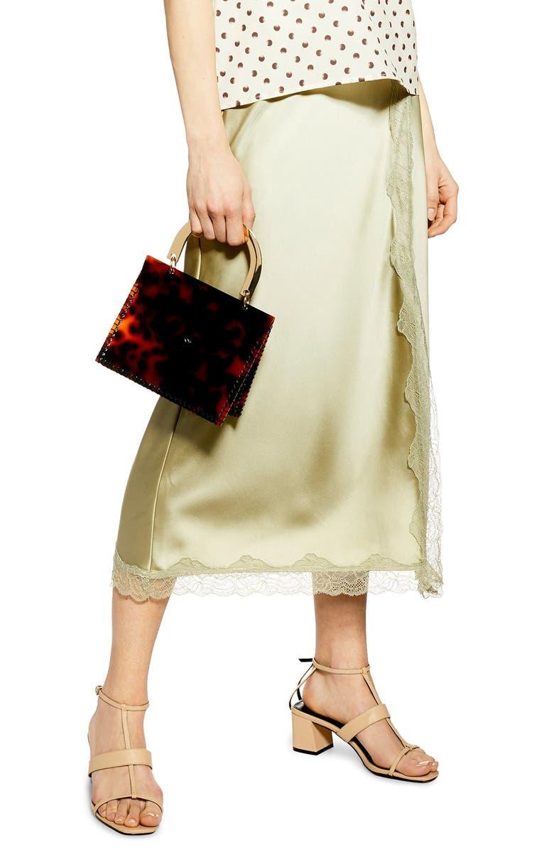 TOPSHOP Lace Trim Satin Midi Skirt, Main, color, 300