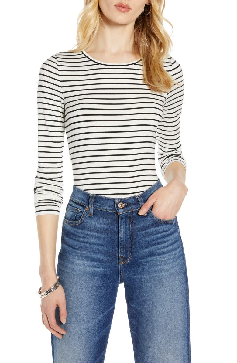 HALOGEN<SUP>®</SUP> Long Sleeve Modal Blend Tee, Main, color, IVORY- BLACK STRIPE