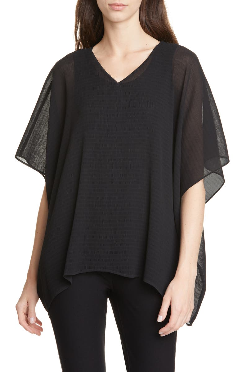 EILEEN FISHER Plissé Recycled Polyester Poncho Top, Main, color, BLACK