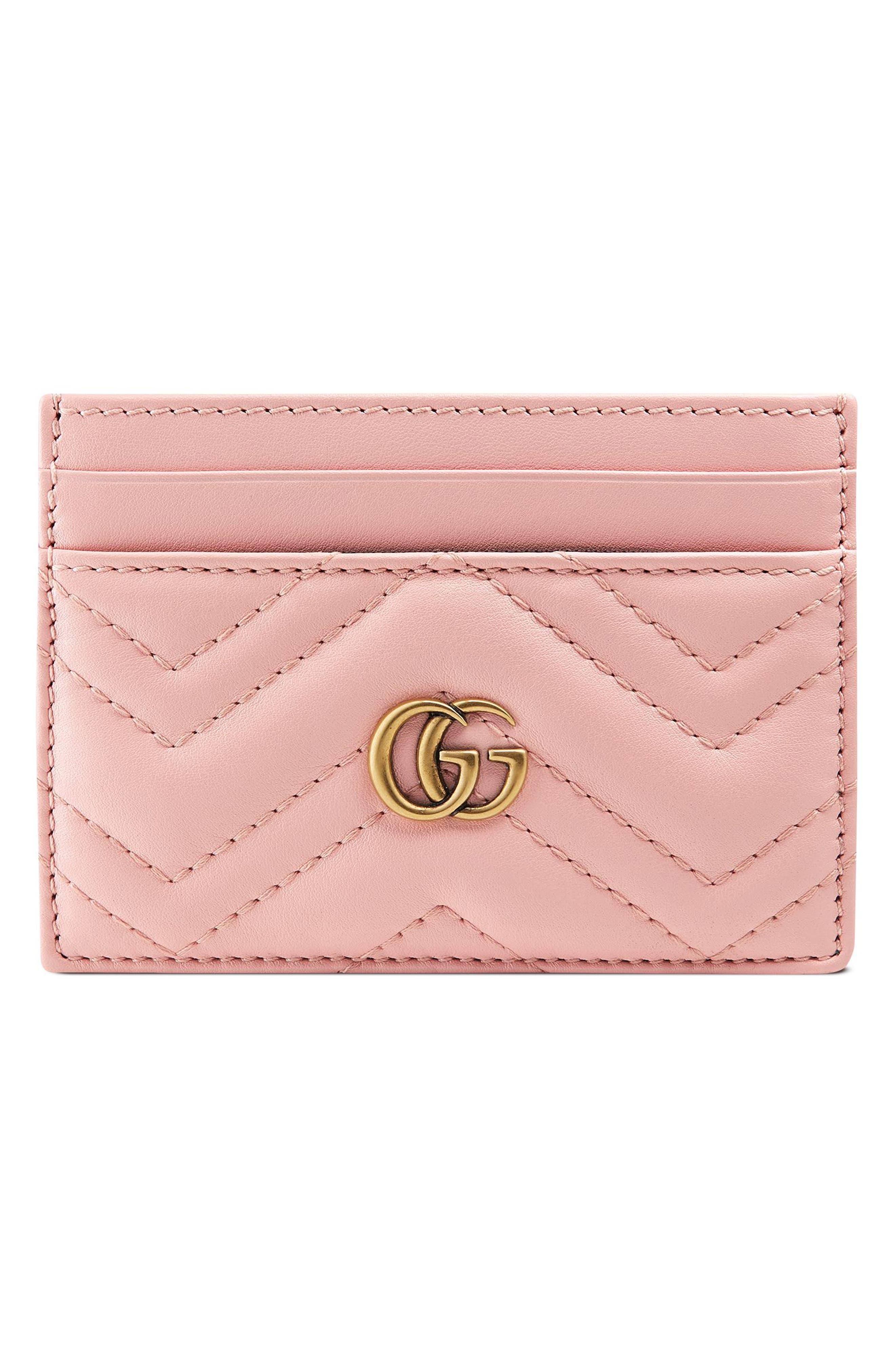 GG Marmont Matelassé Leather Card Case, Main, color, PERFECT PINK