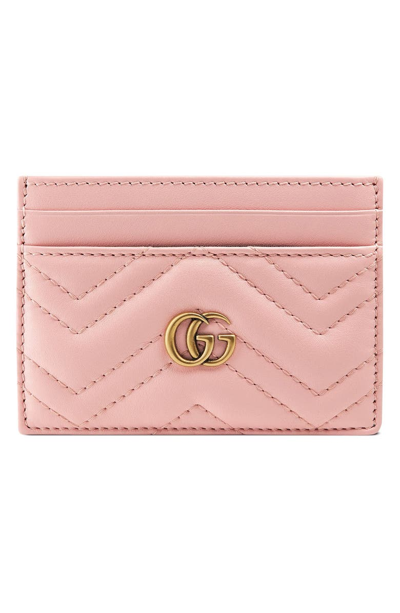 GUCCI Matelassé Leather Card Case, Main, color, 650