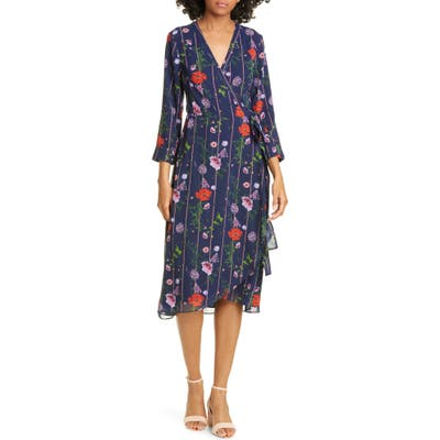 Ted Baker London Hedgerow Floral Stripe Long Sleeve Wrap Dress, Blue