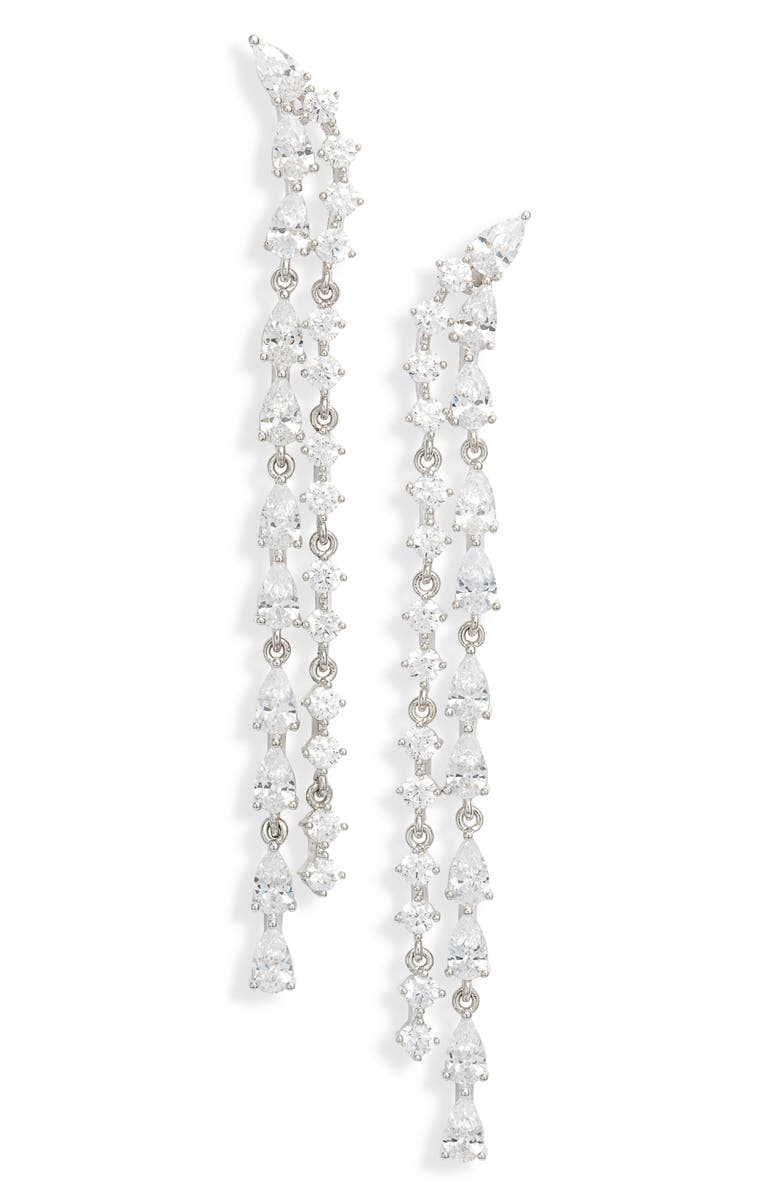 NORDSTROM Double Row Linear Earrings, Main, color, CLEAR- SILVER