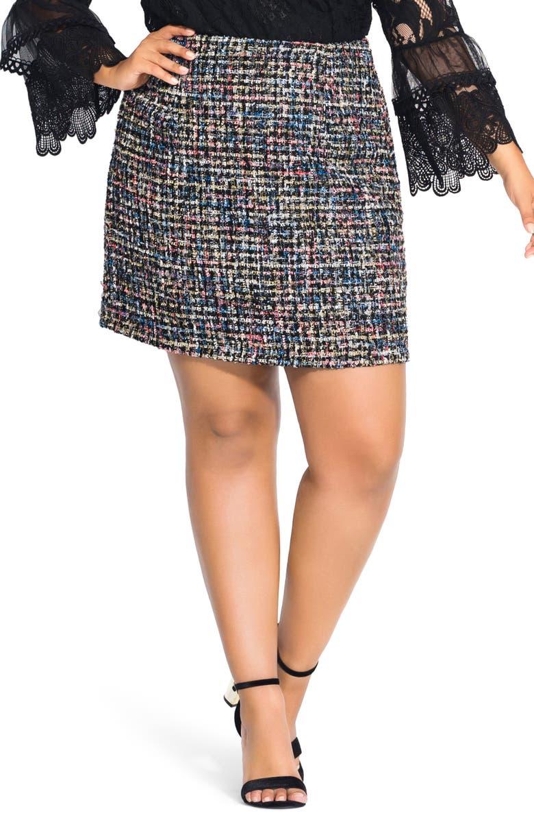 CITY CHIC Fun Bouclé Skirt, Main, color, MULTI
