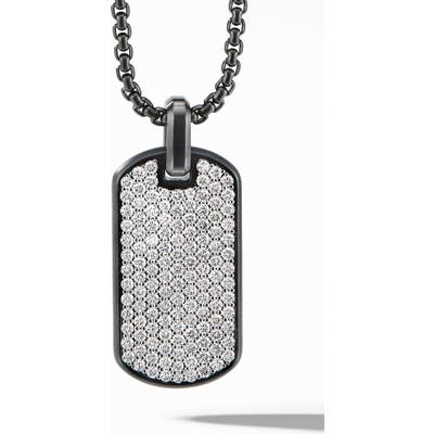 David Yurman Streamline Tag In Black Titanium With Diamonds