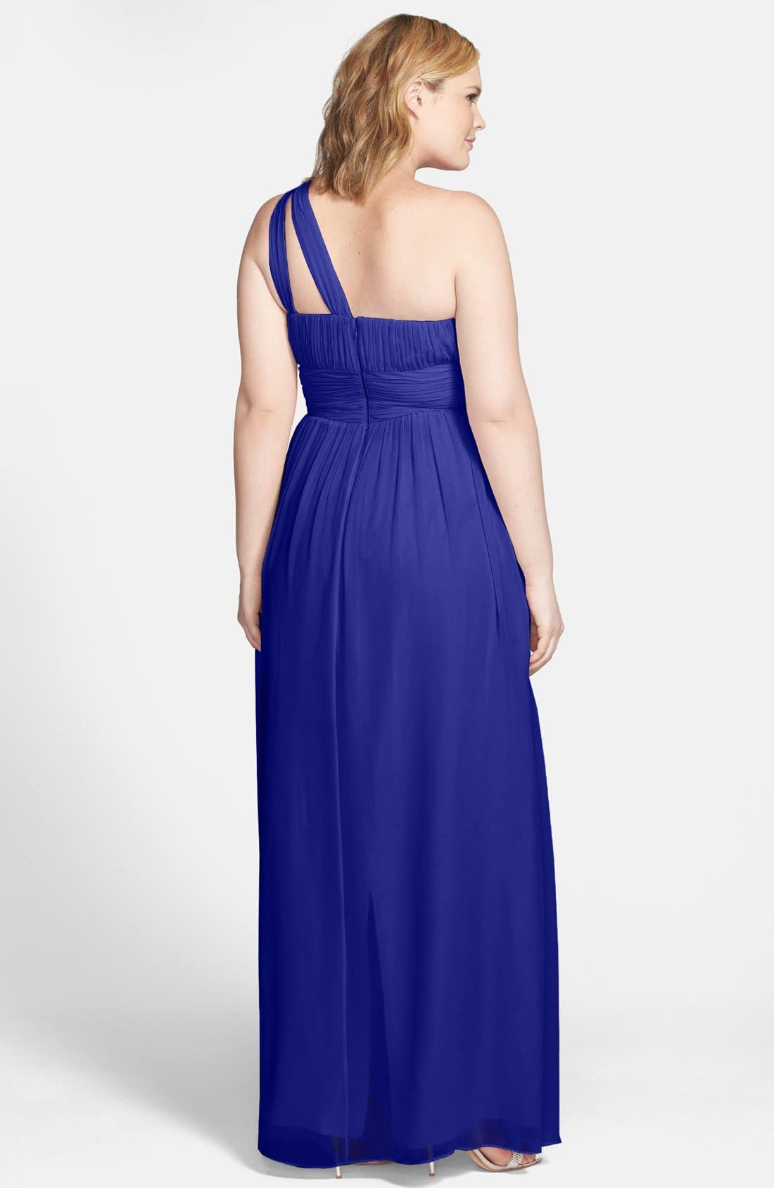 ,                             'Rachel' Ruched One-Shoulder Chiffon Gown,                             Alternate thumbnail 68, color,                             434