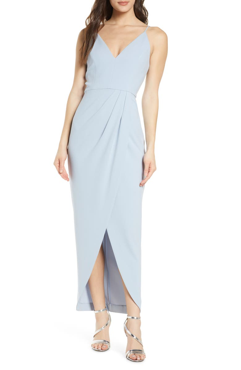 WAYF The Ines V-Neck Tulip Gown, Main, color, SKY BLUE