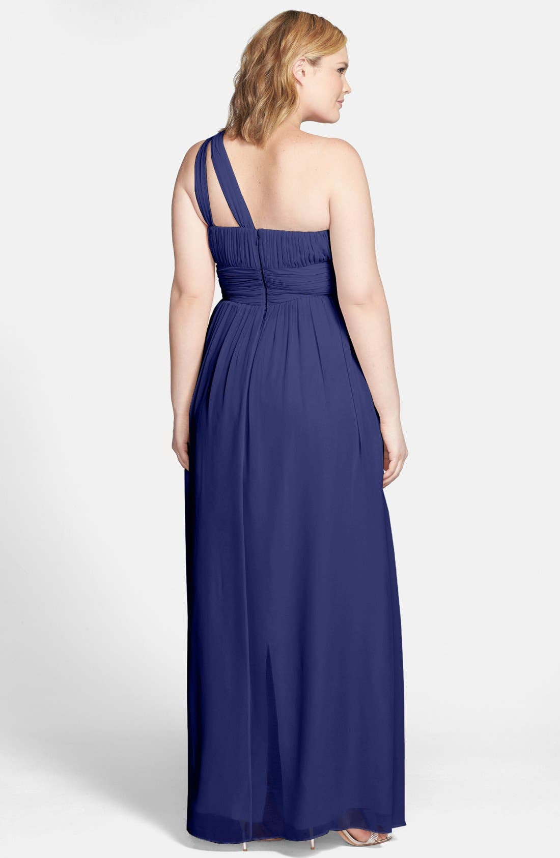 ,                             'Rachel' Ruched One-Shoulder Chiffon Gown,                             Alternate thumbnail 76, color,                             454