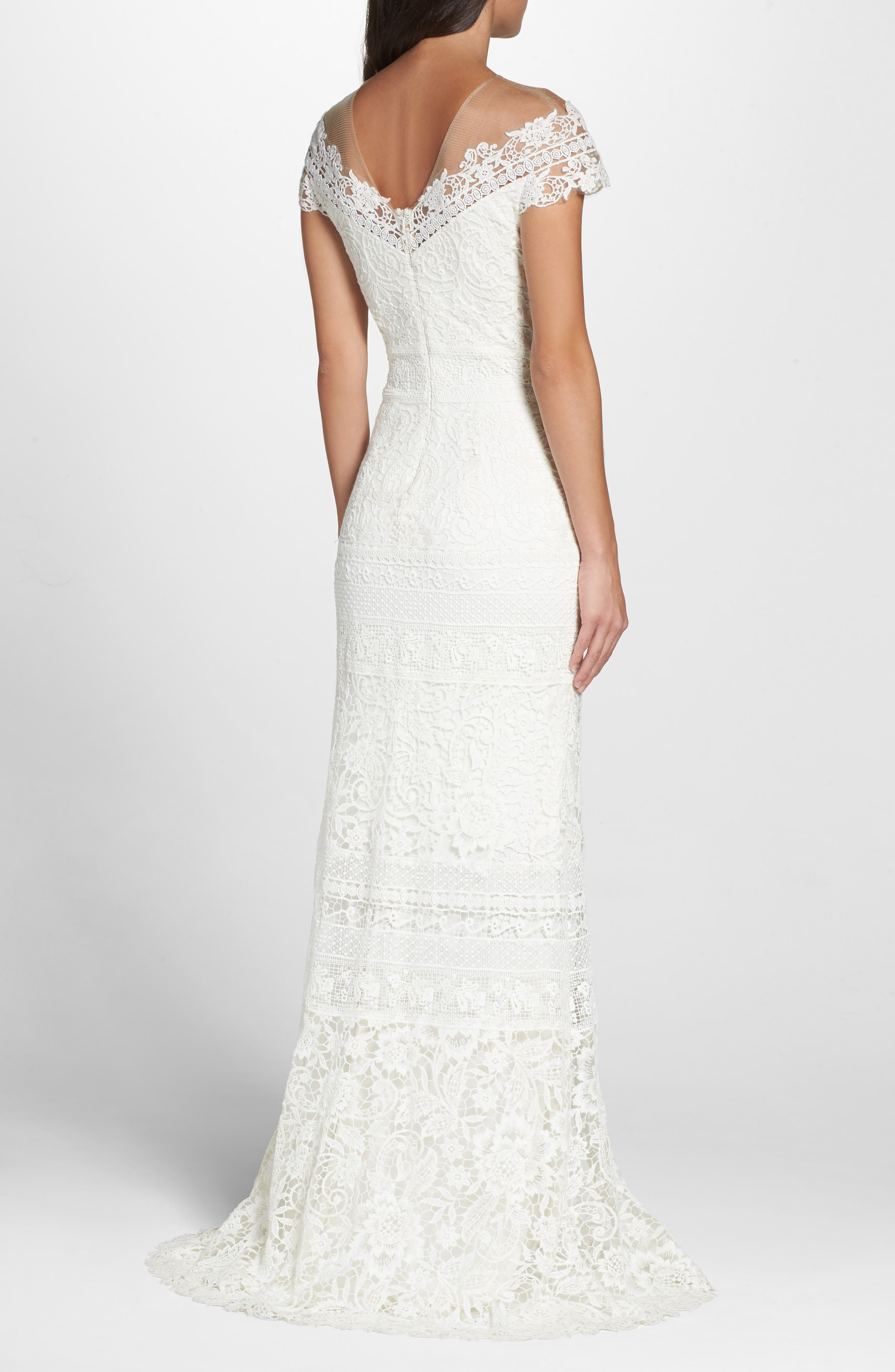 ,                             Off the Shoulder Illusion Lace Gown,                             Alternate thumbnail 2, color,                             IVORY