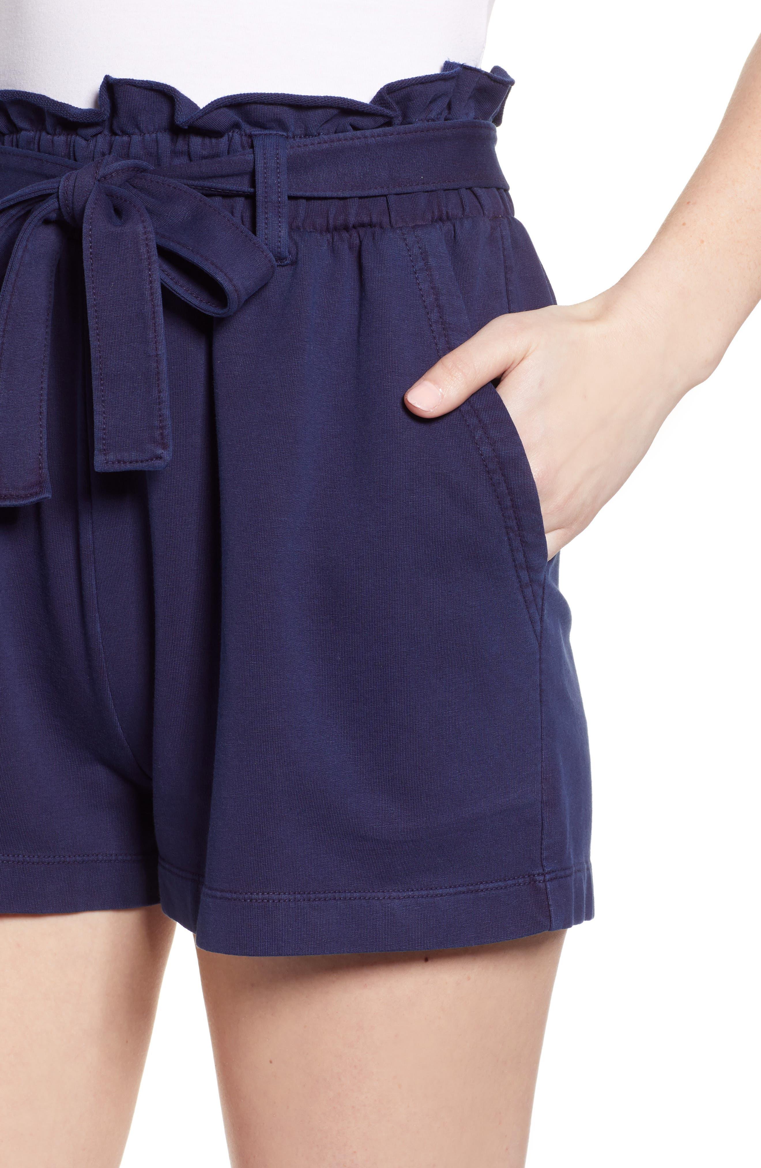 ,                             Paperbag High Waist Shorts,                             Alternate thumbnail 5, color,                             NAVY EVENING