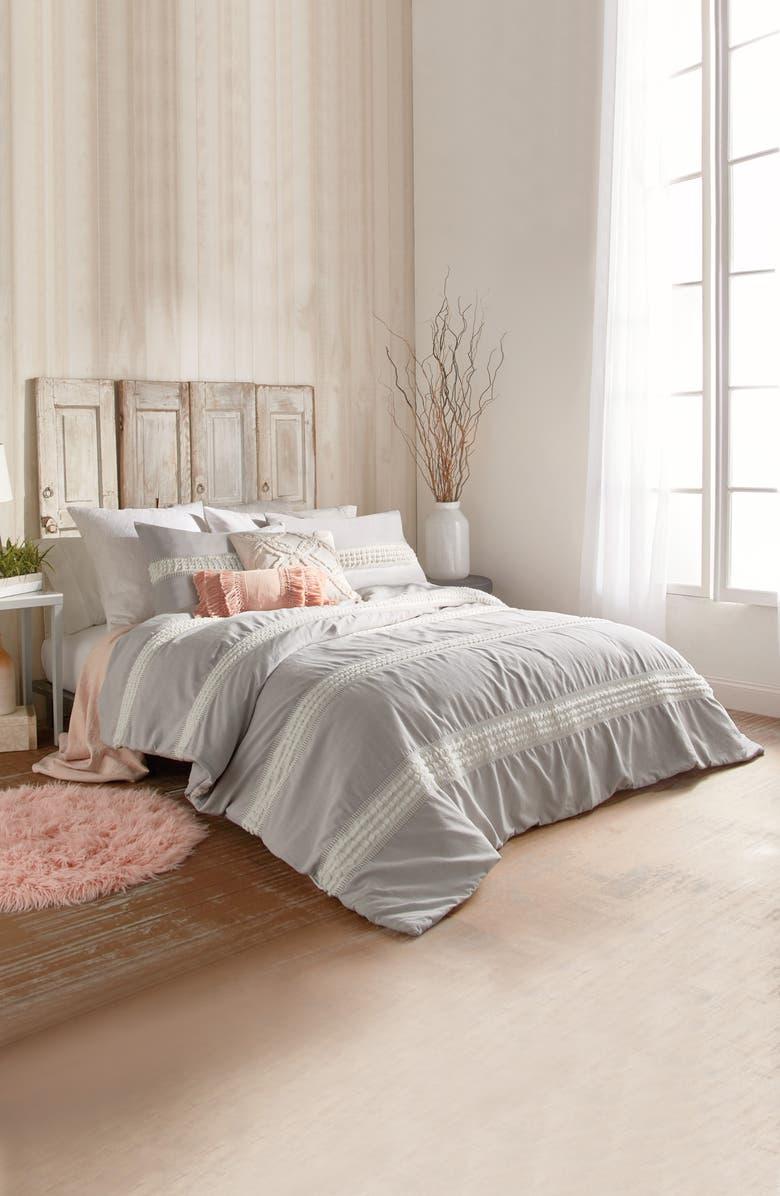 PERI HOME Tufted Dot Stripe Cotton Comforter & Sham Set, Main, color, GREY