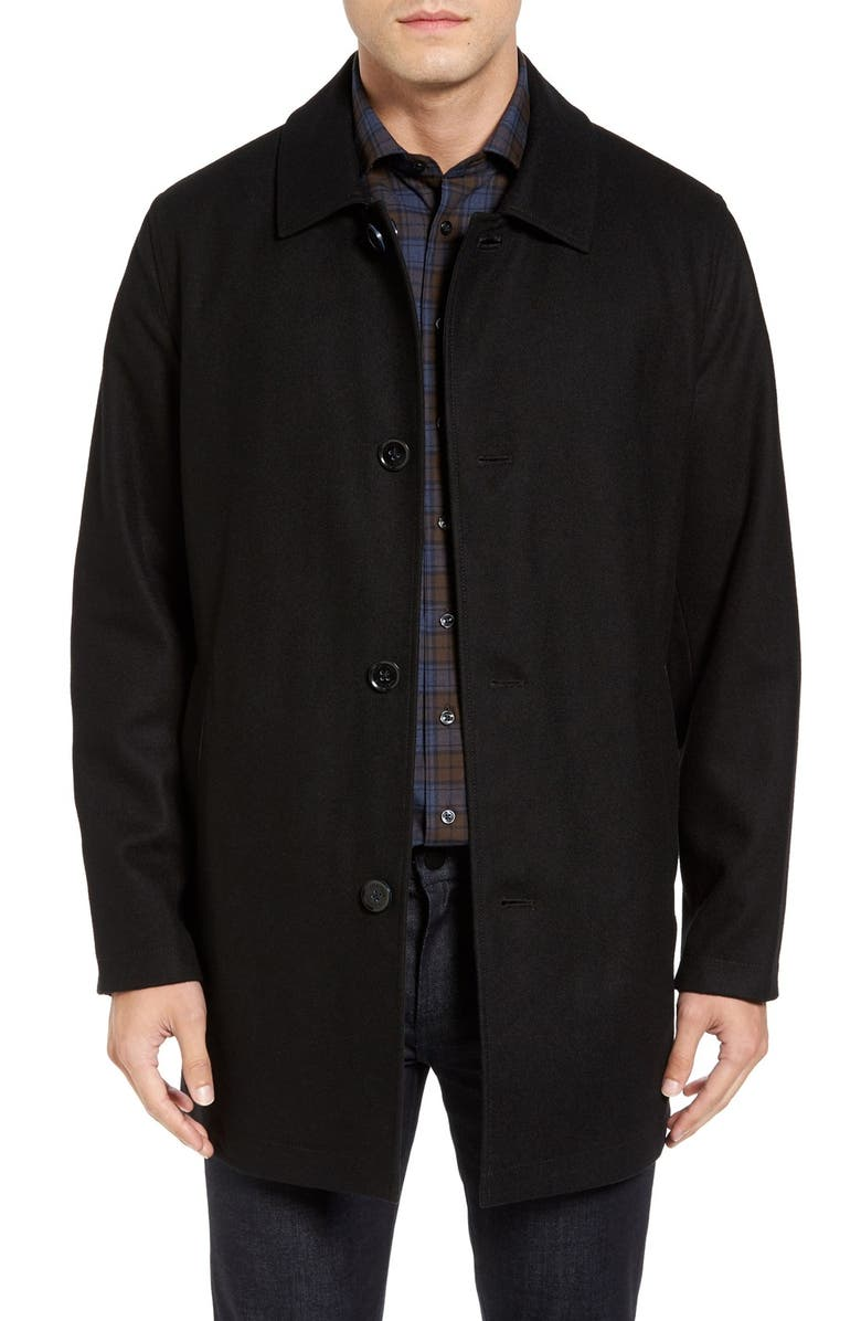 COLE HAAN Signature Reversible Wool Blend Overcoat, Main, color, 001