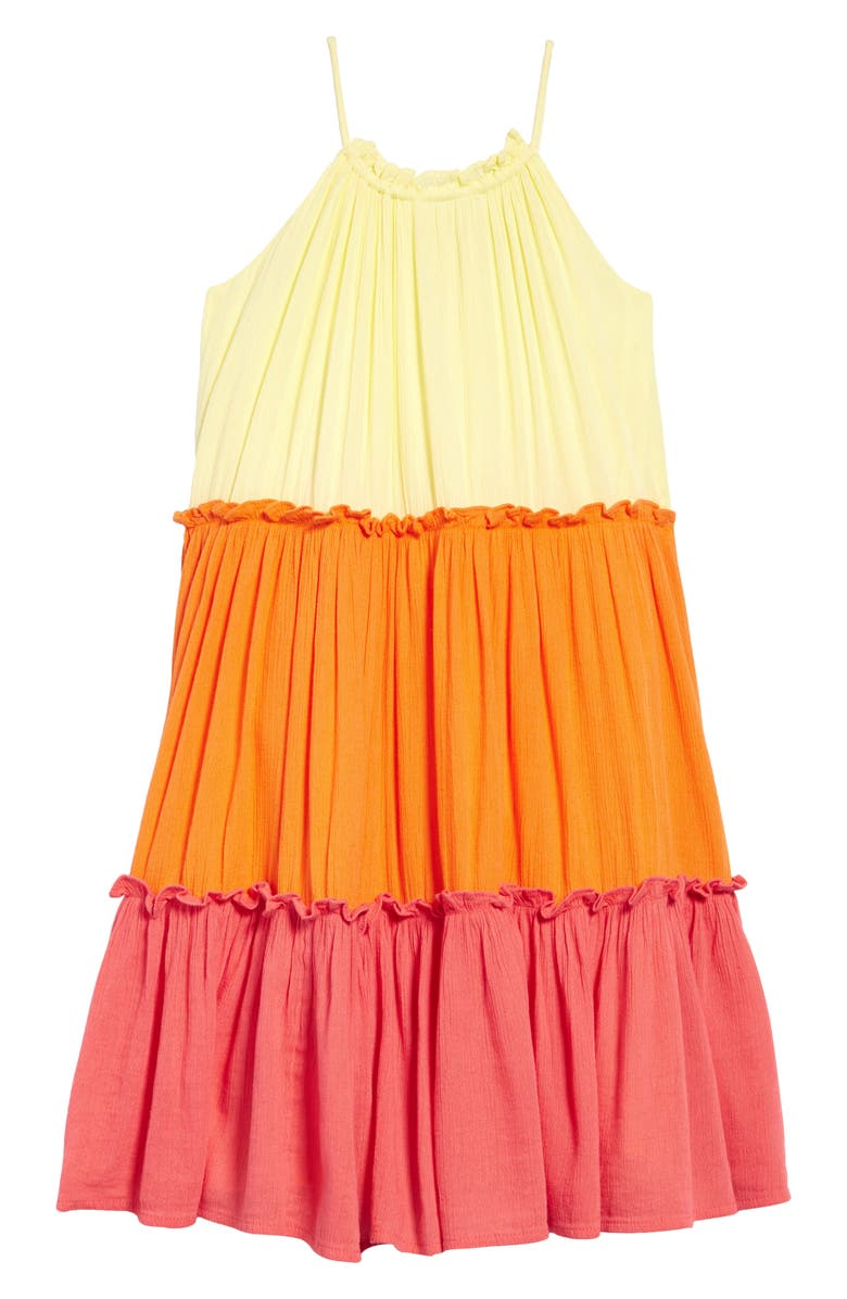 TUCKER AND TATE Tucker + Tate Tiered Crinkle Dress, Main, color, YELLOW LEMONADE MULTI