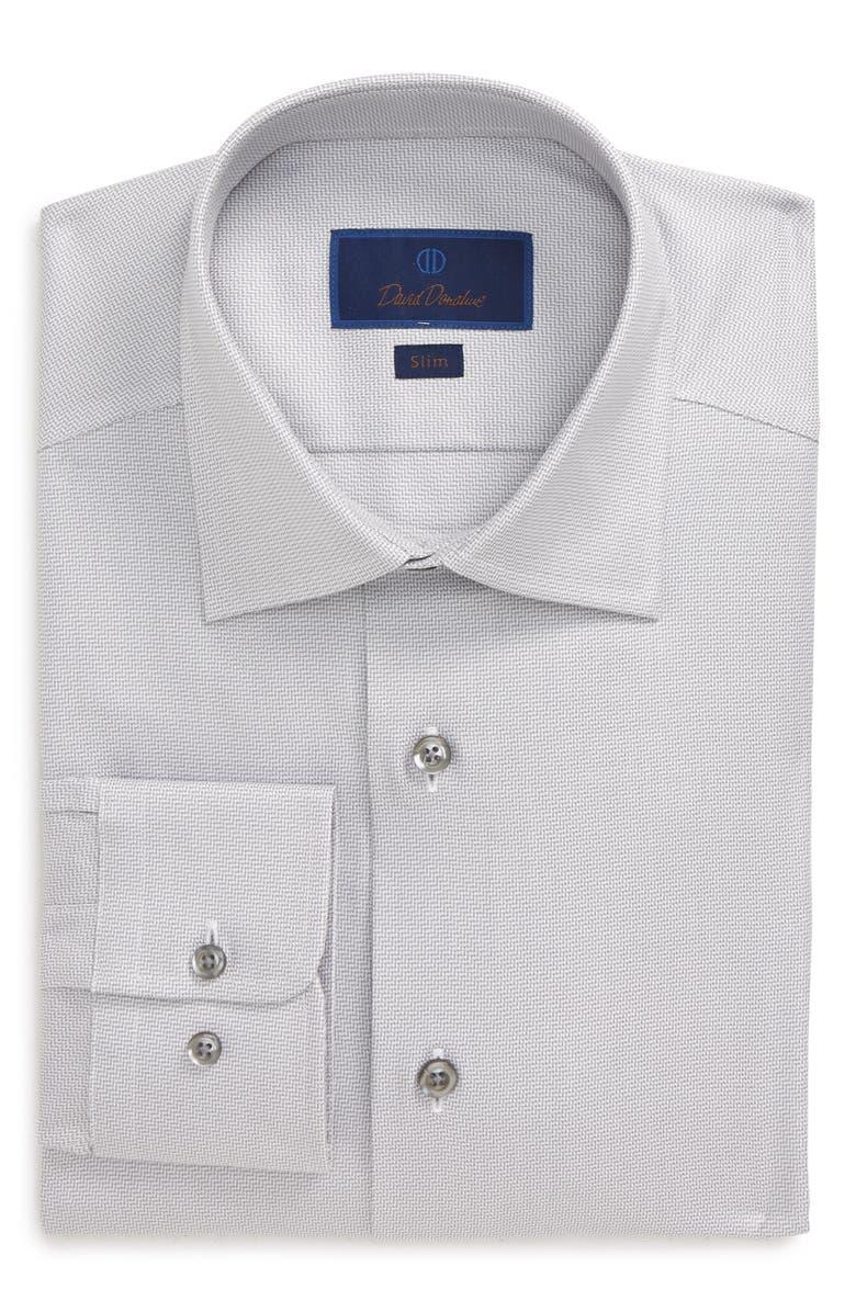 DAVID DONAHUE Slim Fit Geometric Dress Shirt, Main, color, GRAY