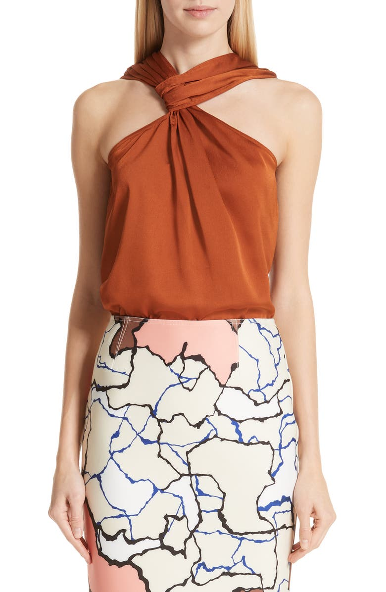 YIGAL AZROUËL Draped Hammered Satin Top, Main, color, 800