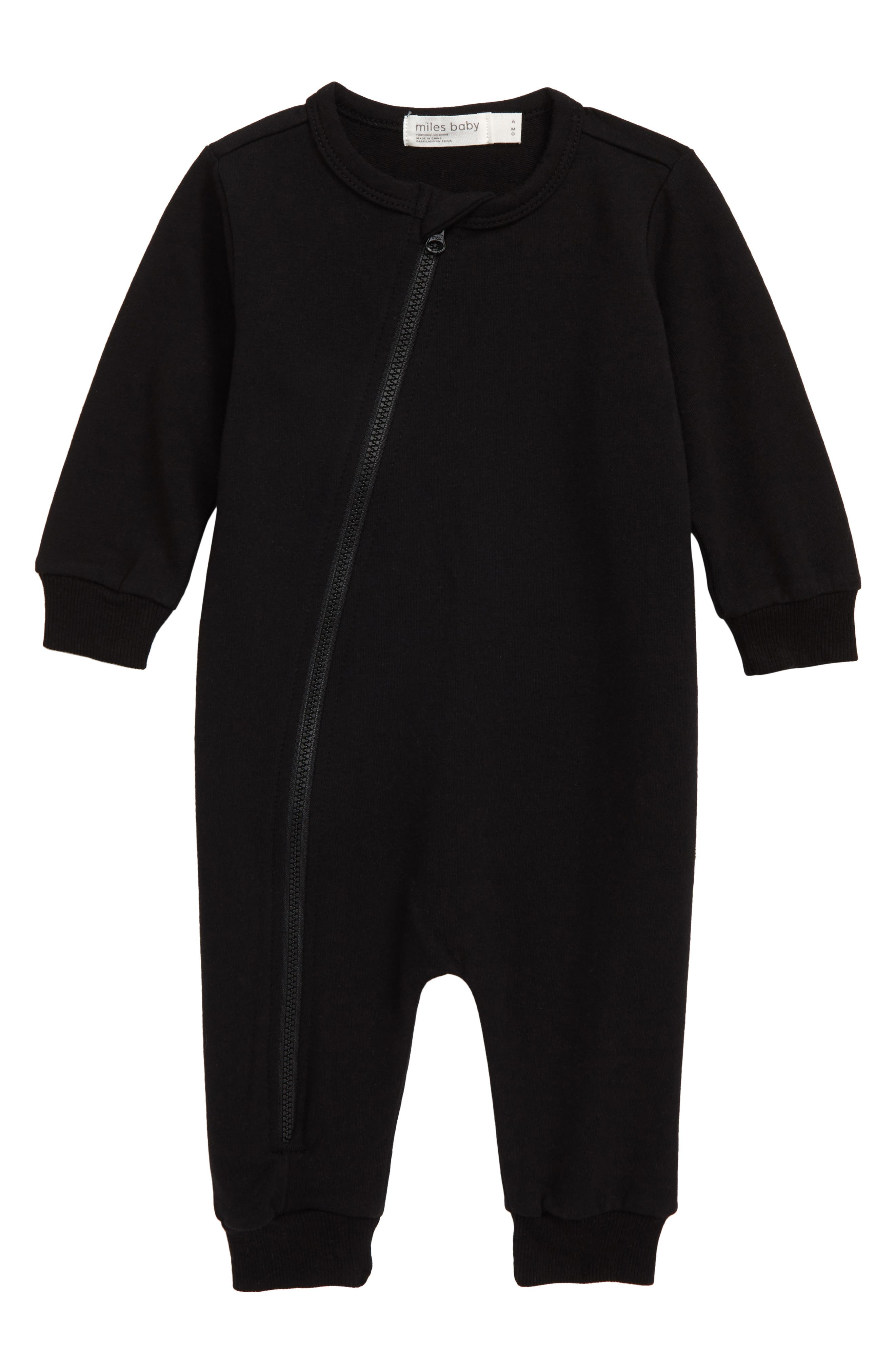 Give your little one a cozy cuddle in this soft cotton romper that\\\'s easy on you and him thanks to a top-to-bottom zipper fixed with a no-scratch chin guard. Style Name: Miles Baby Asymmetrical Zip Romper (Baby). Style Number: 5886432. Available in stores.