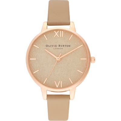 Olivia Burton Woven Dial Leather Strap Watch,