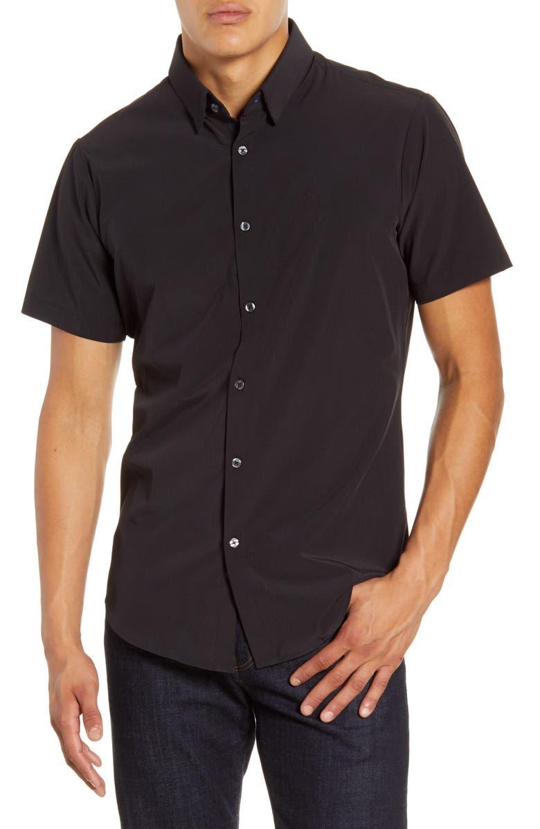 MIZZEN+MAIN Leeward Trim Fit Short Sleeve Button-Up Shirt, Main, color, BLACK