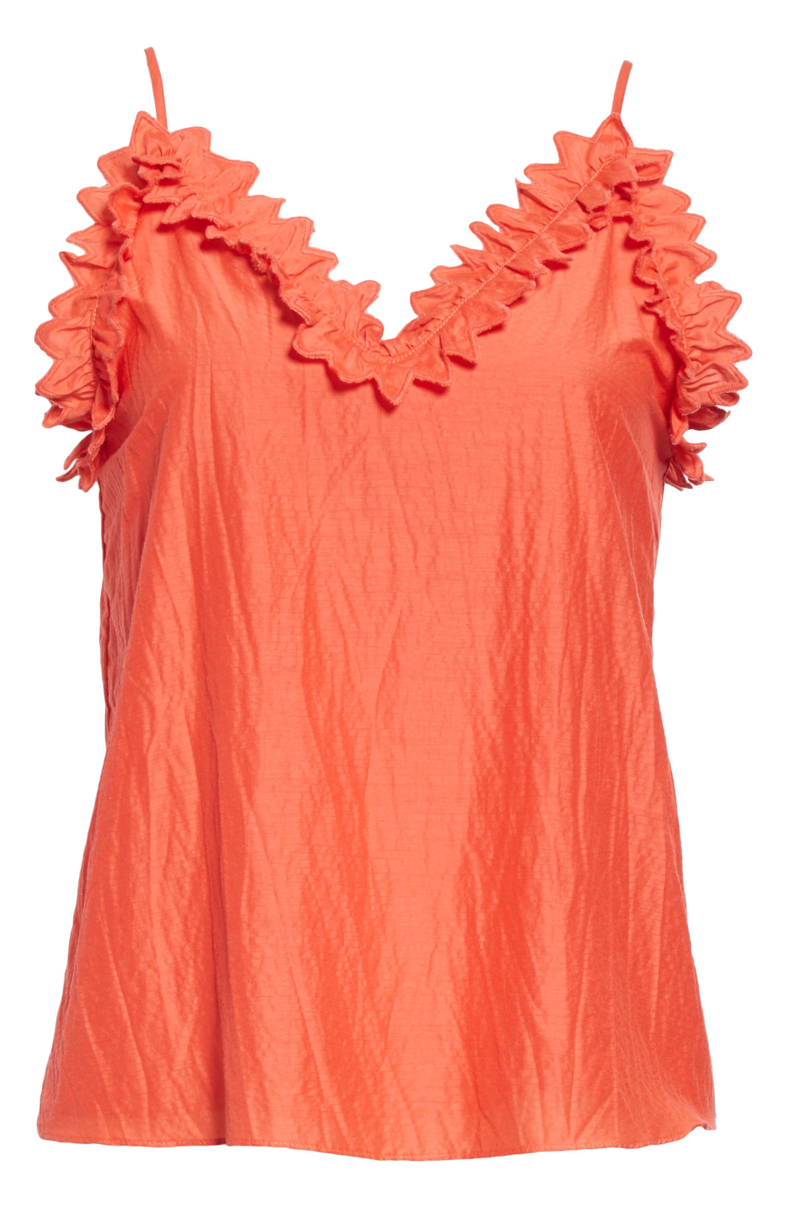 ,                             Petal Detail Cotton Camisole,                             Alternate thumbnail 6, color,                             CHERRY