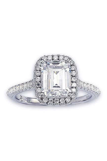 Image of Suzy Levian Sterling Silver Emerald Cut CZ Ring
