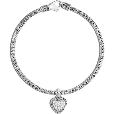 John Hardy Classic Chain Diamond Pave Heart Charm Bracelet