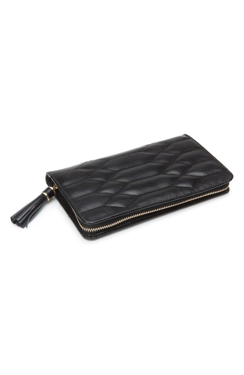 WOLF Caroline Quilted Jewelry Portfolio, Main, color, BLACK