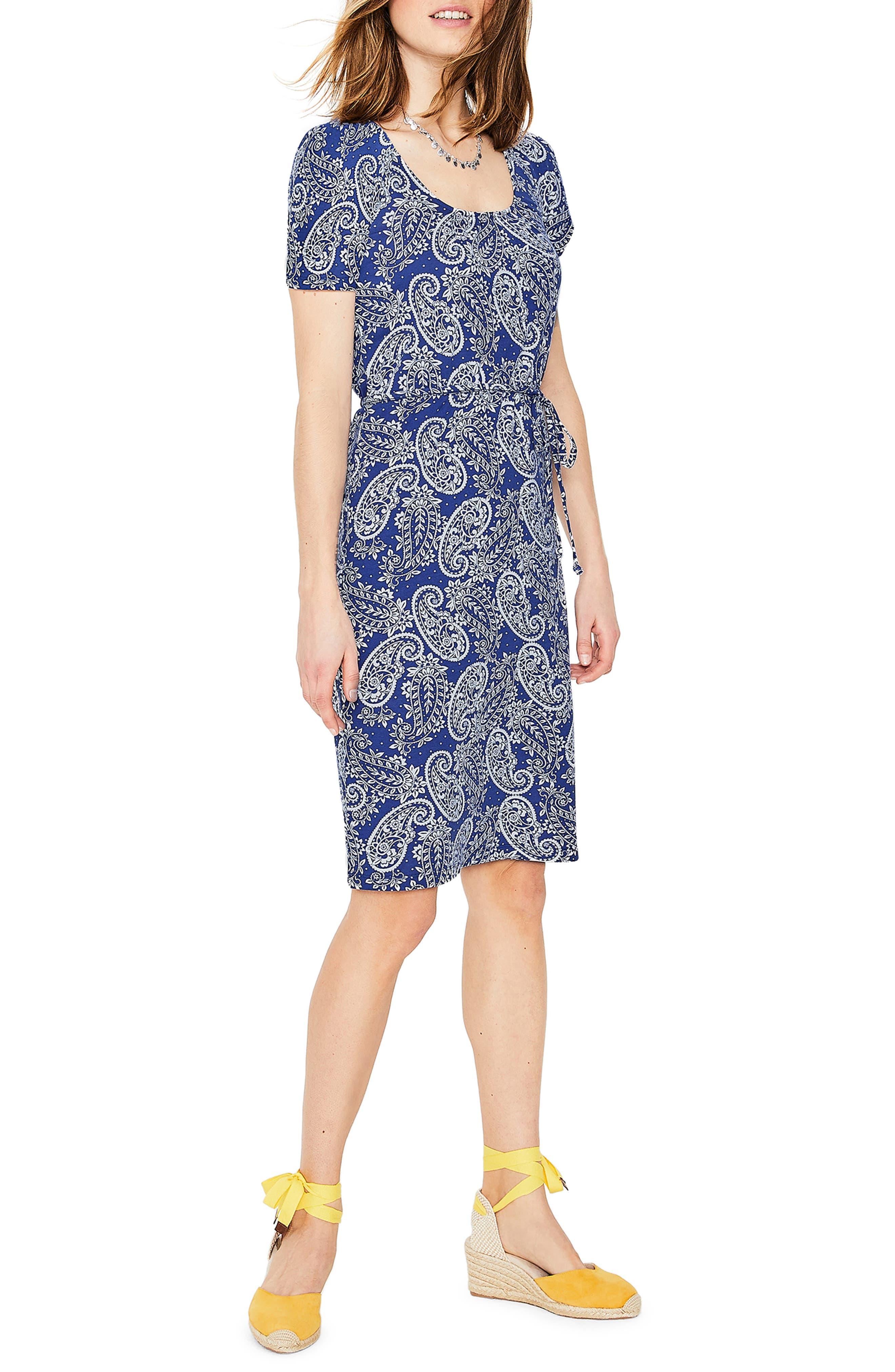 Boden Elspeth Paisley Cotton Blend Jersey Dress, Blue