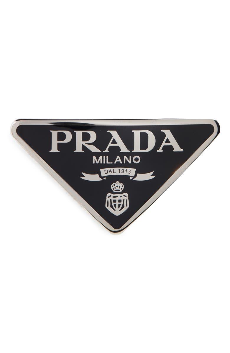 PRADA Signature Logo Barrette, Main, color, 001