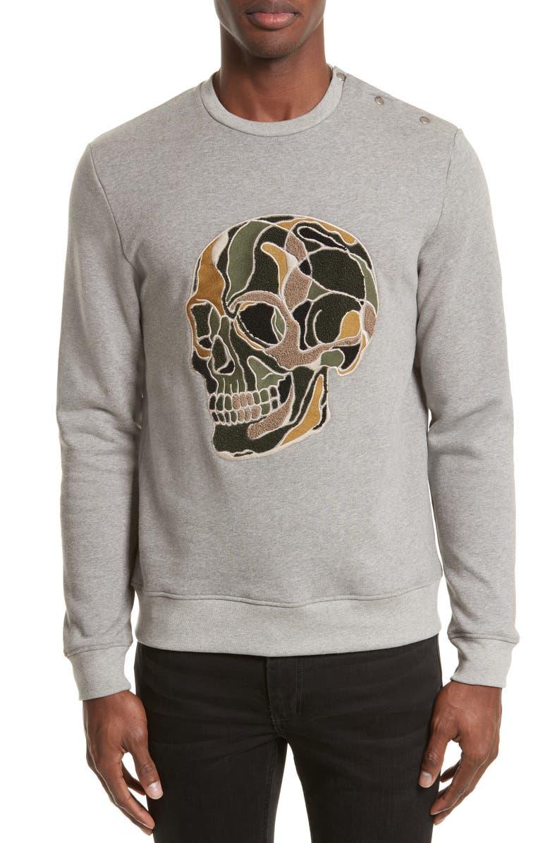 da59fd47031 The Kooples SPORT Embroidered Skull Sweatshirt | Nordstrom
