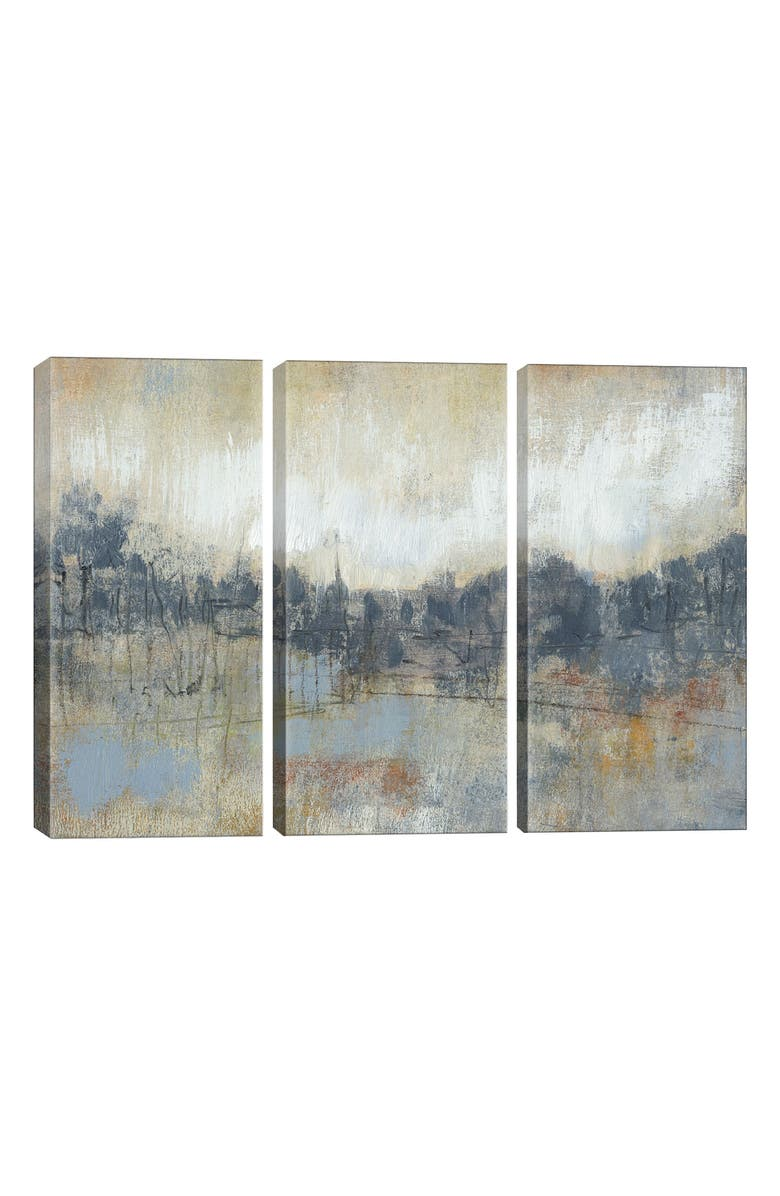 ICANVAS Cool Grey Horizon I Canvas Print Triptych, Main, color, GREEN
