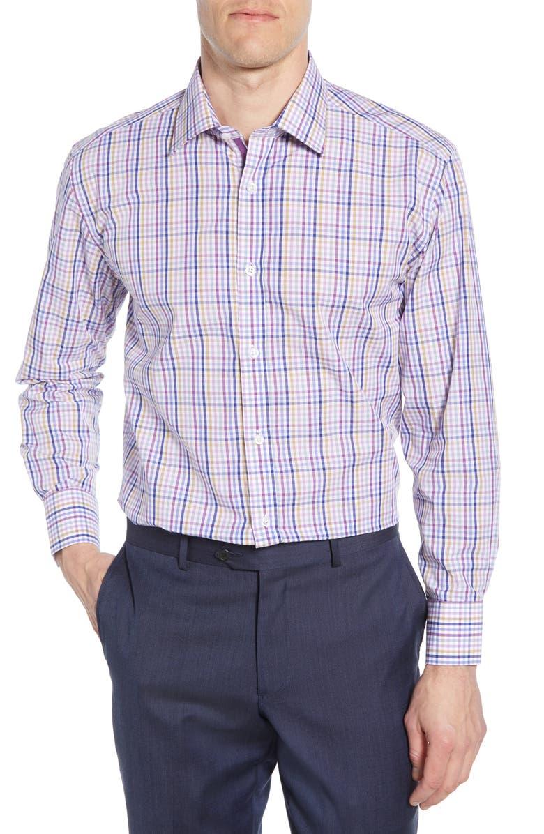 ENGLISH LAUNDRY Trim Fit Plaid Dress Shirt, Main, color, PURPLE