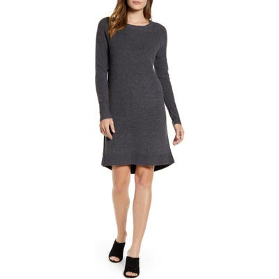 Caslon Long Sleeve Thermal Stitch Sweater Dress, Grey