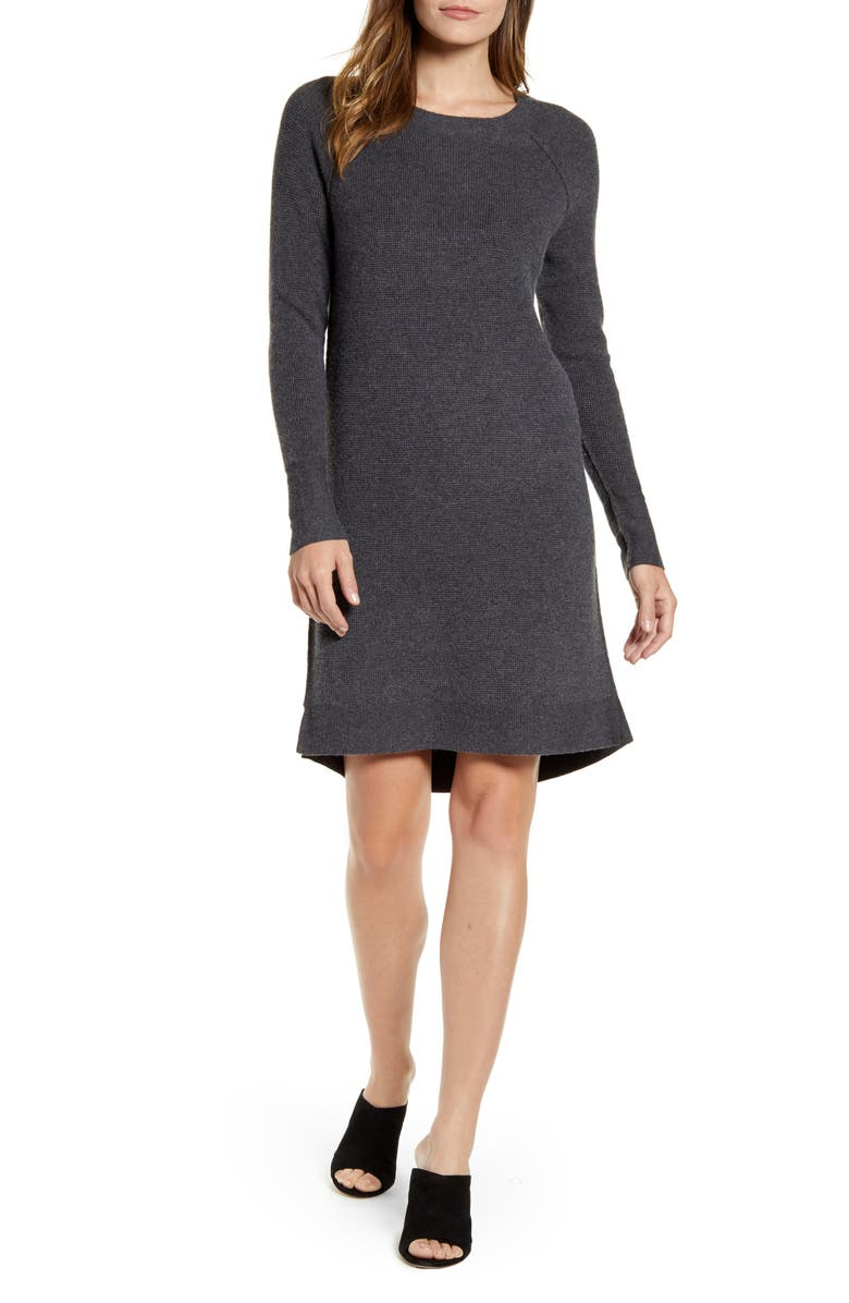 CASLON<SUP>®</SUP> Long Sleeve Thermal Stitch Sweater Dress, Main, color, GREY DARK CHARCOAL HEATHER