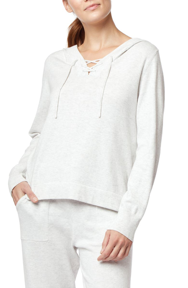 THE WHITE COMPANY Cotton & Cashmere Hoodie, Main, color, CLOUD MARL