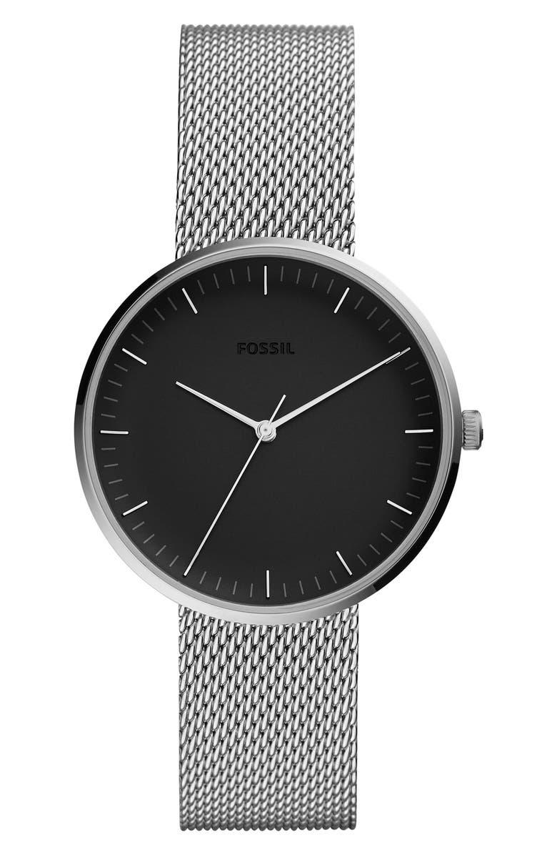 FOSSIL Essentialist Mesh Bracelet Watch, 38mm, Main, color, SILVER/ GUNMETAL/ SILVER