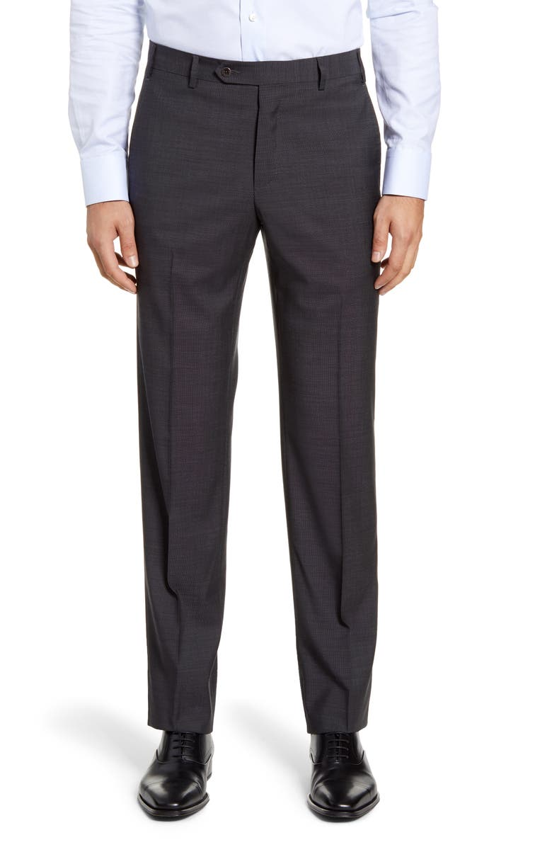 ZANELLA Devon Flat Front Dot Wool Dress Pants, Main, color, CHARCOAL