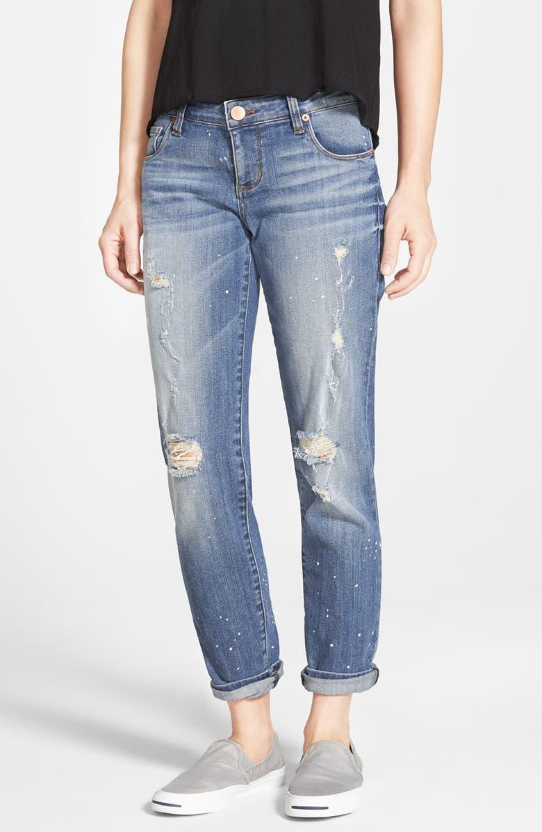 STS BLUE 'Joey' Distressed Splatter Boyfriend Jeans, Main, color, 400
