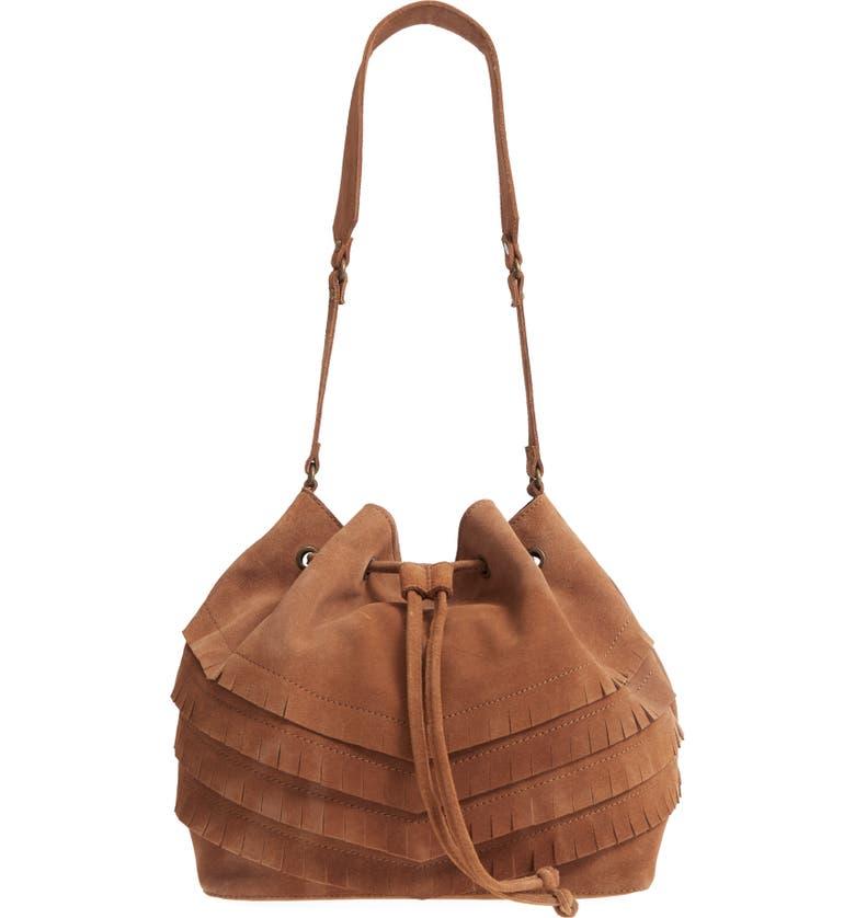 TEN79LA Chevron Fringe Suede Bucket Bag, Main, color, TAN