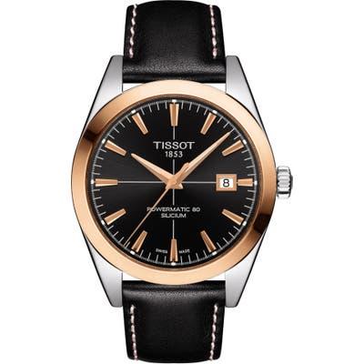 Tissot Gentleman Powermatic 80 Leather Strap Watch, 40Mm