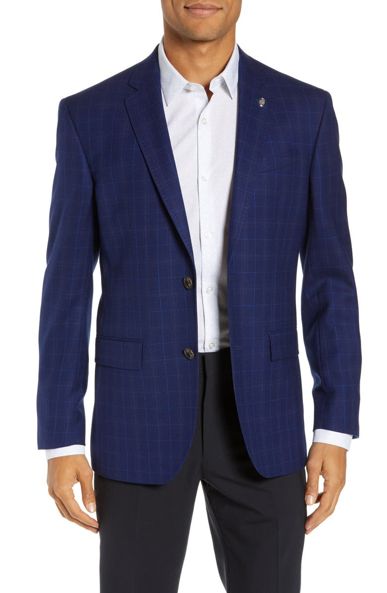 TED BAKER LONDON Jay Trim Fit Plaid Wool Sport Coat, Main, color, 410