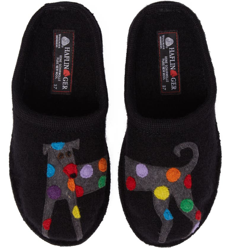 HAFLINGER 'Dog' Slipper, Main, color, BLACK WOOL