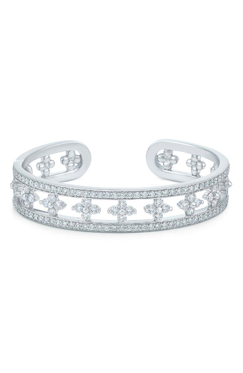 KWIAT Jasmine Diamond Cuff, Main, color, WHITE GOLD