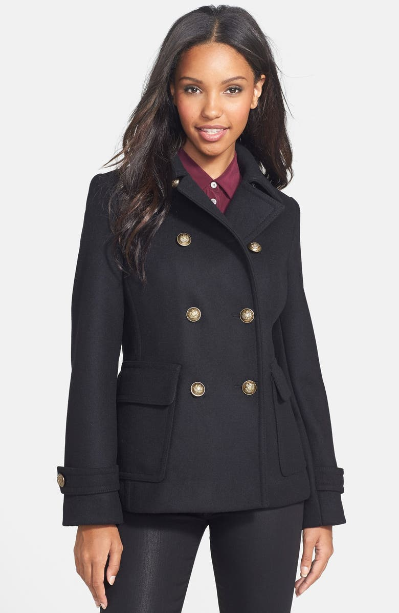 KRISTEN BLAKE Double Breasted Wool Blend Skirted Peacoat, Main, color, 001