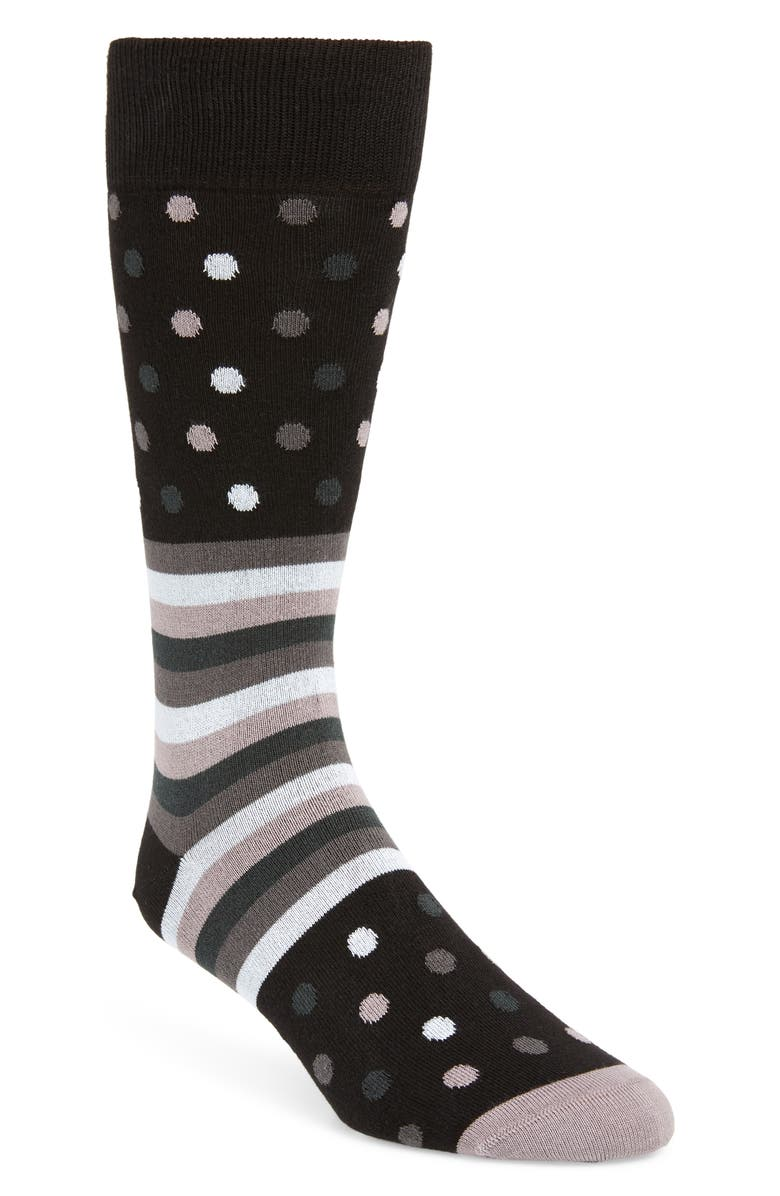 PAUL SMITH Dot & Stripe Socks, Main, color, BLACK