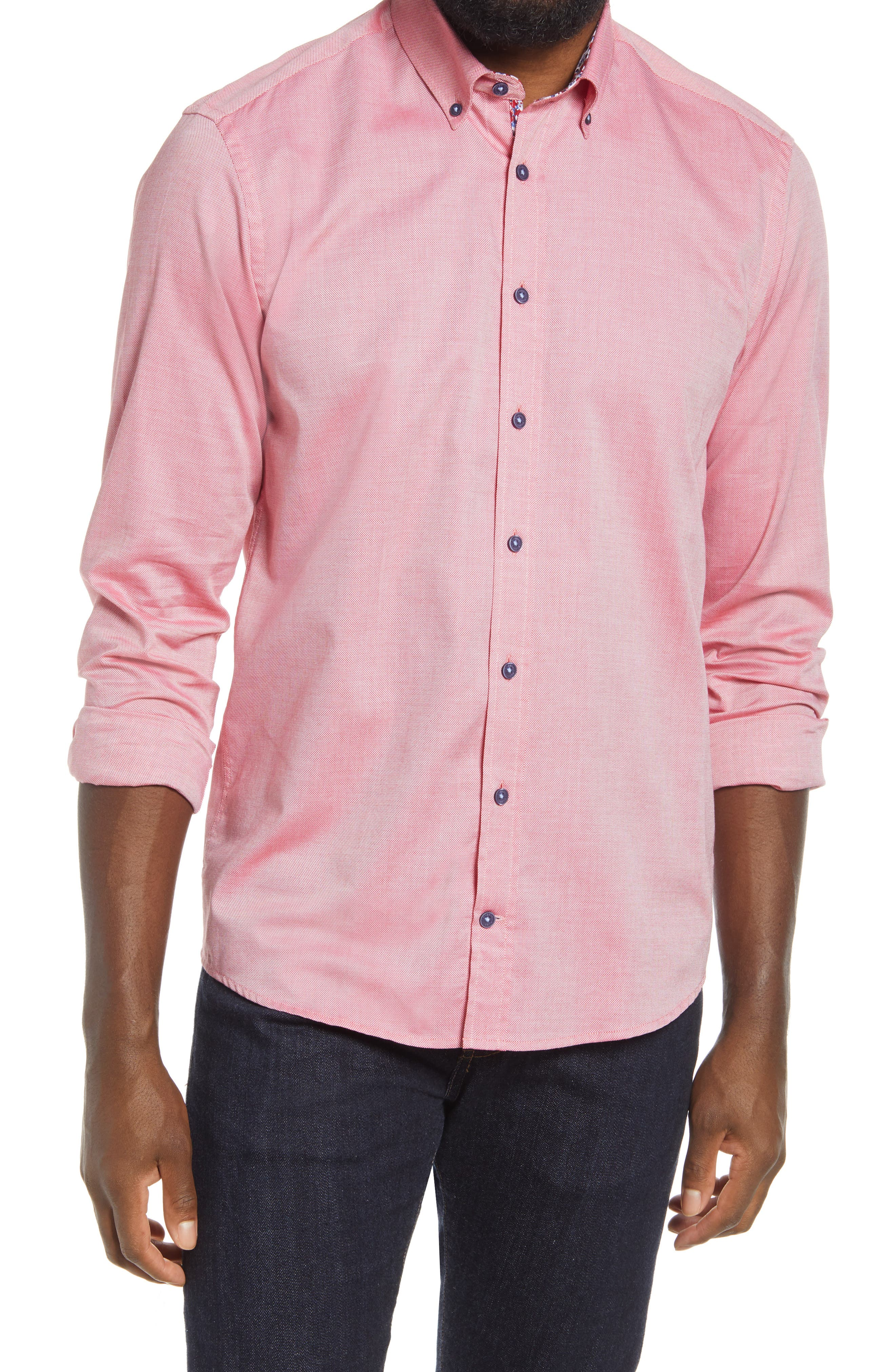 Solid Long Sleeve Button-Down Shirt
