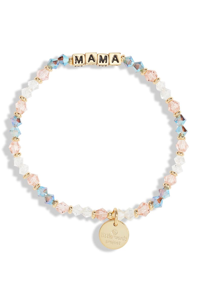 LITTLE WORDS PROJECT Mama Beaded Stretch Bracelet, Main, color, ARROW/ GOLD